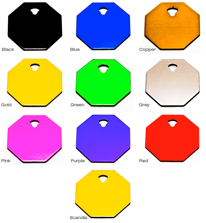 Standard Bright Dip Tags - Octagon Small